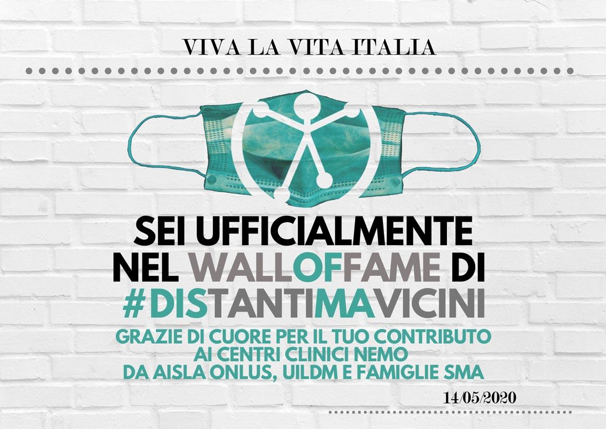 Attestato #distantimavicini - Wall of fame Viva la vita Italia